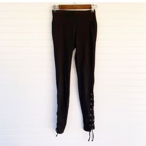 Cotton On black leggings with string
